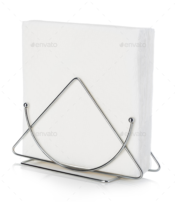 Table napkin holder with napkin close-up isolated on a white background. - Stock Photo - Images