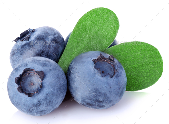 Fresh ripe blueberries with leaves close-up isolated on a white background. - Stock Photo - Images