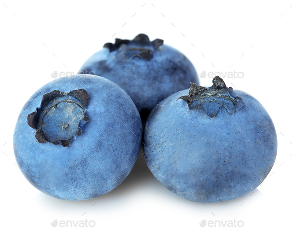 Fresh ripe blueberries close-up isolated on a white background. - Stock Photo - Images