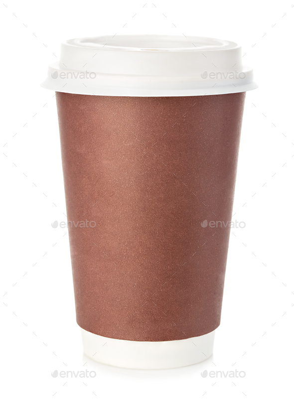 Big brown cup of coffee close-up isolated on a white background. - Stock Photo - Images