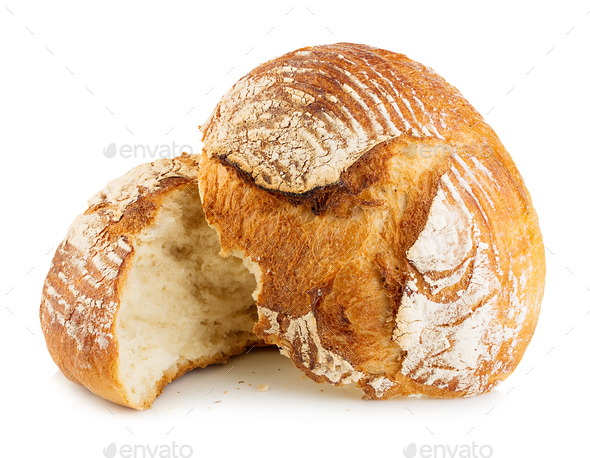 Fresh grain homemade bread cut in half on white background. - Stock Photo - Images
