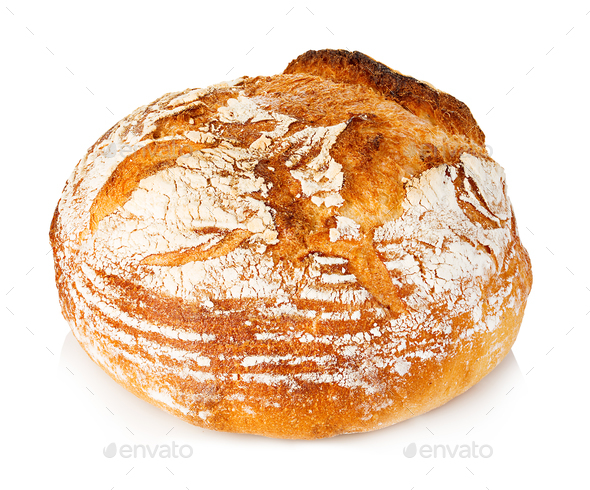 Fresh grain homemade bread on white background. - Stock Photo - Images