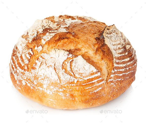 Fresh grain homemade bread on white background. - Stock Photo - Images