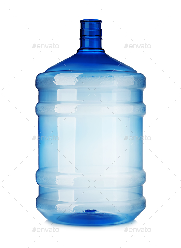 Big plastic bottle close-up isolated on a white background. - Stock Photo - Images