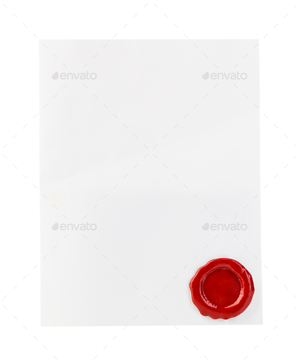 White paper with red wax seal close-up isolated on white background. - Stock Photo - Images