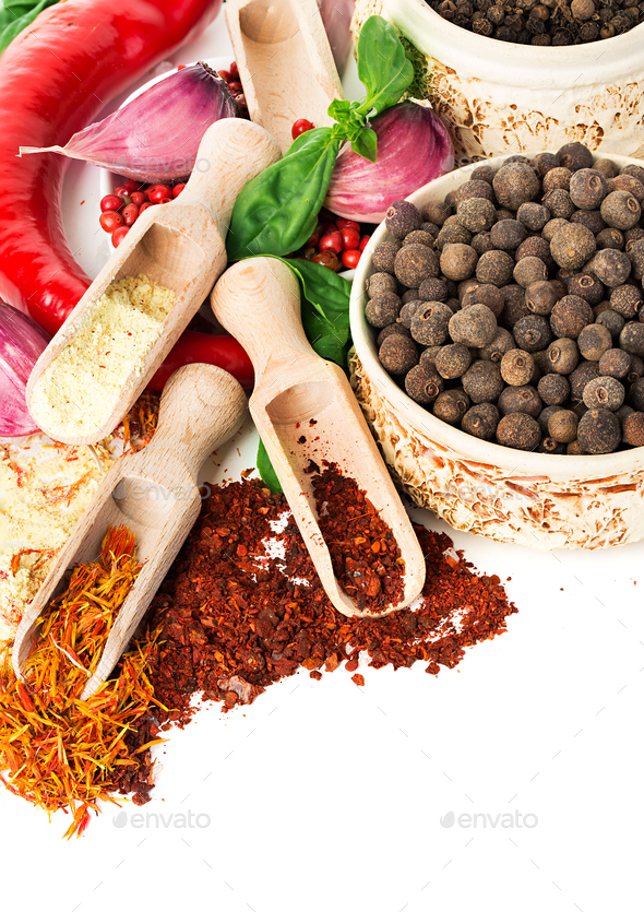 Spices and seasonings close-up as a background. - Stock Photo - Images