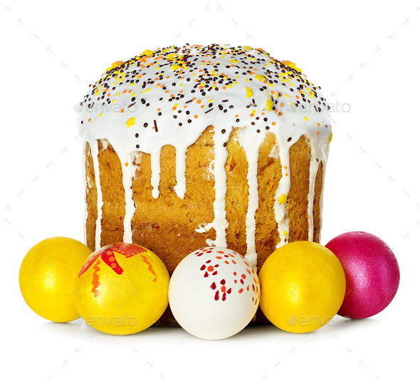 Easter cake and Easter eggs isolated - Stock Photo - Images