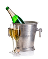Champagne bottle in ice bucket with glasses of champagne. - PhotoDune Item for Sale