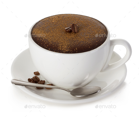 Hot chocolate close-up on a white background. - Stock Photo - Images