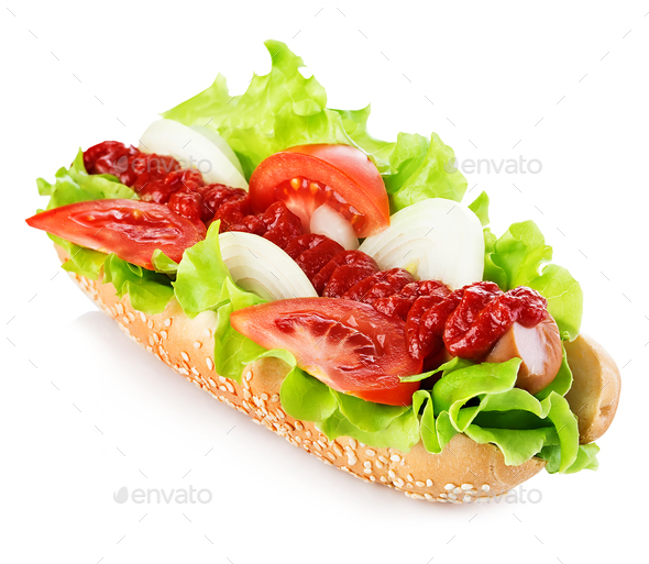 Hot dog with sausage and fresh tomato isolated on white. - Stock Photo - Images