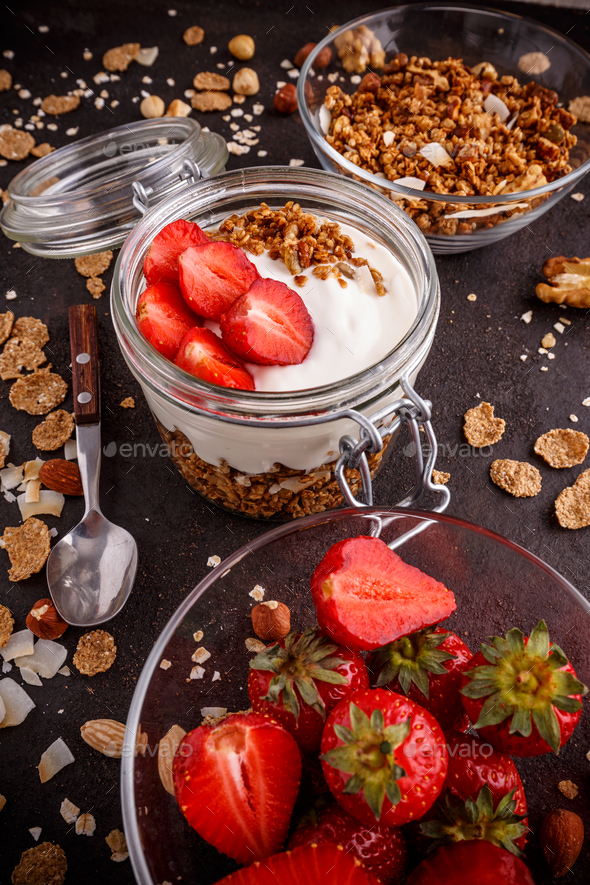 Crunchy granola or muesli - Stock Photo - Images