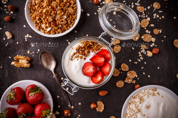 Jarl of homemade granola - Stock Photo - Images