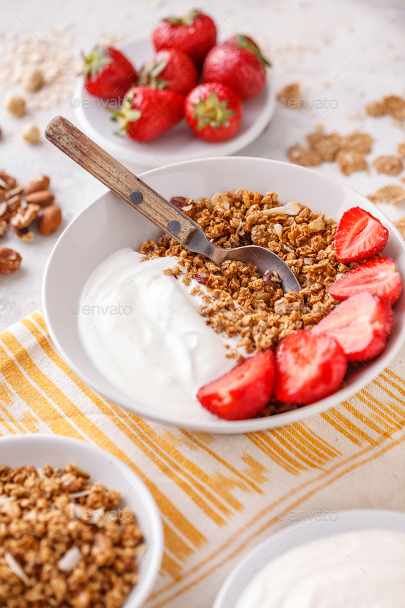 Granola baked with nuts and honey - Stock Photo - Images