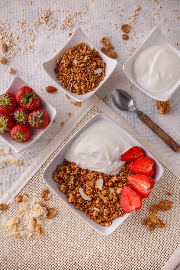 Bowl of homemade granola - Stock Photo - Images