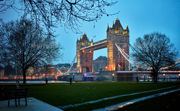 Night view of Tower Bridge - Stock Photo - Images