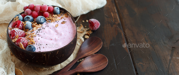Wild berries smoothie bowl - Stock Photo - Images