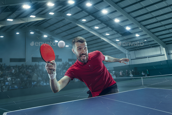 The table tennis player serving - Stock Photo - Images