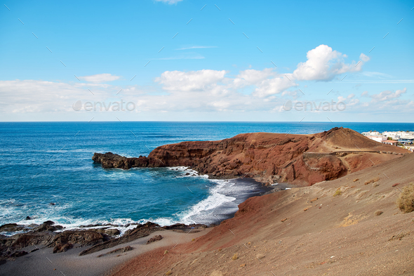 Beautiful landscape of Lanzarote Island - Stock Photo - Images