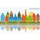 Antwerp Belgium City Skyline with Color Buildings