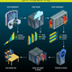 Isometric Data Center Infographic Concept