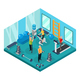 Isometric Pensioners in Gym Concept