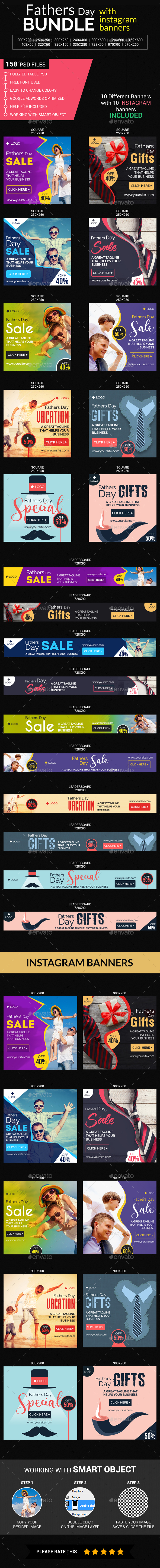 Fathers Day Big Bundle - Banners & Ads Web Elements