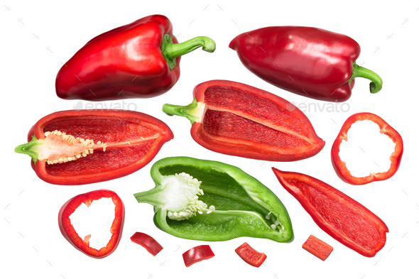 Bell peppers Grueso de Plaza, whole and cut, top - Stock Photo - Images
