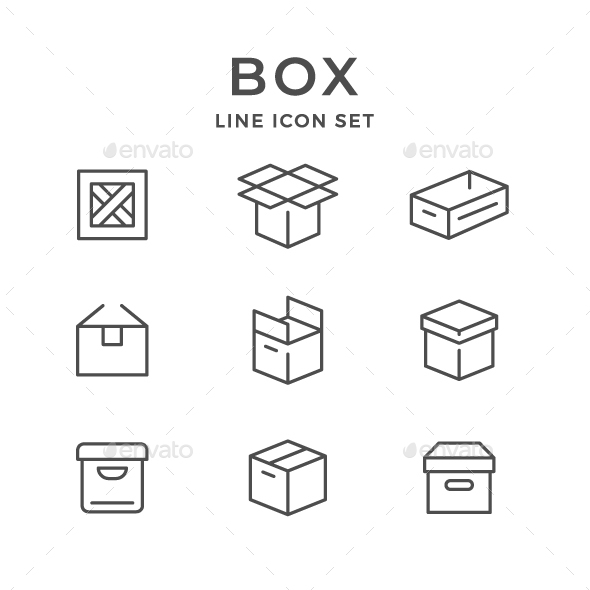 Set Line Icons of Box - Man-made objects Objects