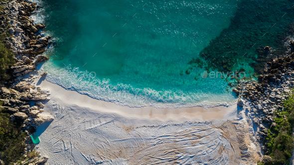Marble beach (Saliara beach). Thassos island, Greece - Stock Photo - Images