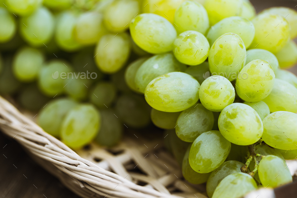 Close up view of ripe green grapes. Background of ripe grapes - Stock Photo - Images