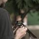 Man charging double-barreled hunting rifle closeup - PhotoDune Item for Sale
