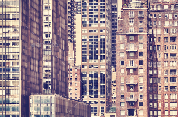 Vintage toned picture of the New York architecture. - Stock Photo - Images