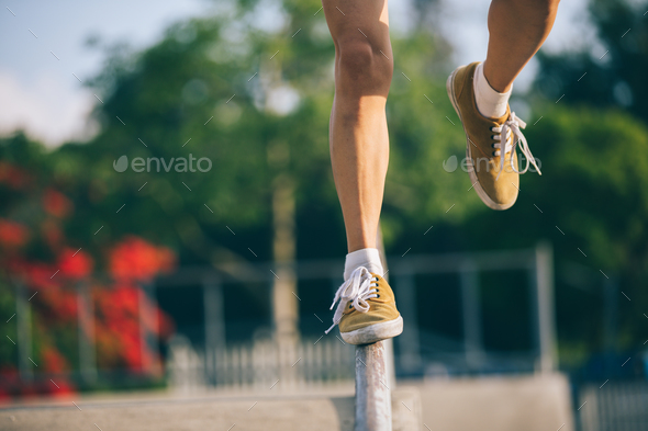 Walking on steel pipe - Stock Photo - Images