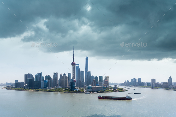 shanghai skyline and the sky clouded over - Stock Photo - Images