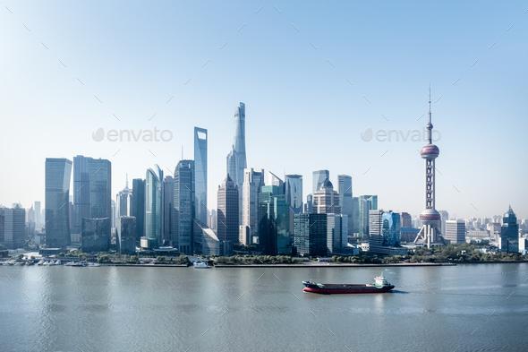modern shanghai skyline - Stock Photo - Images