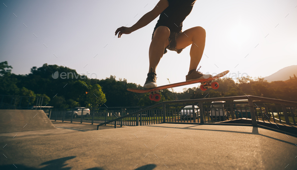 skateboarding at skatepark - Stock Photo - Images