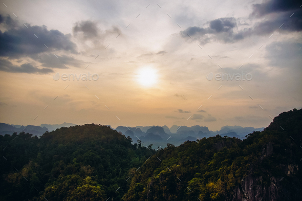 tops of mountains in tropical forest - Stock Photo - Images
