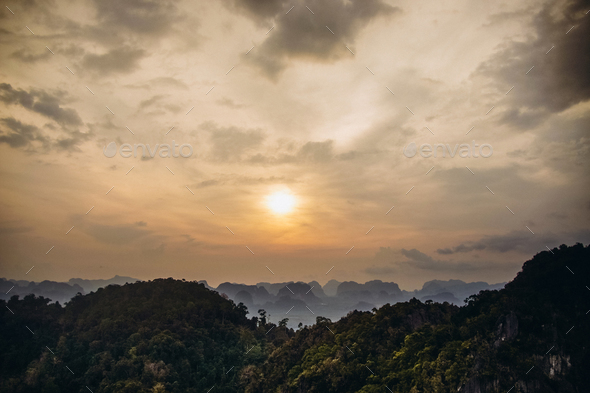 sunset in mountains of Thailand - Stock Photo - Images