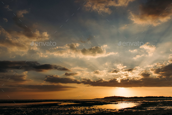 low tide coastline tropical island - Stock Photo - Images