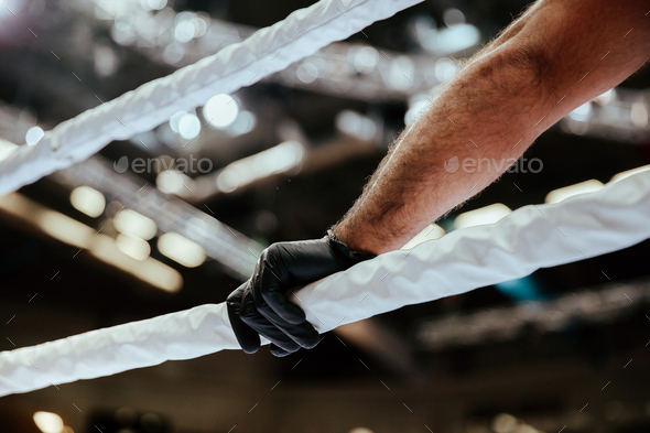 referee hand in black glove - Stock Photo - Images