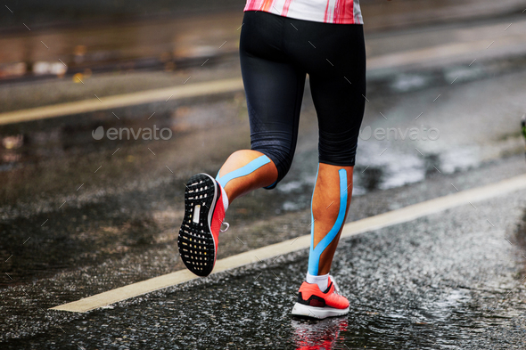 blue kinesio tape - Stock Photo - Images