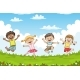 Children Jumping on a Meadow - GraphicRiver Item for Sale