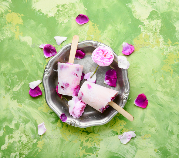 Sundae with taste of rose - Stock Photo - Images