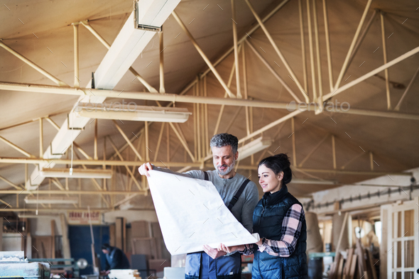 Man and woman workers in the carpentry workshop. - Stock Photo - Images