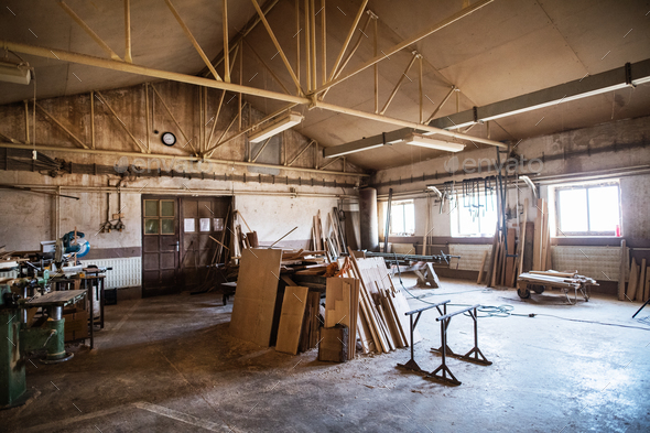 An interior of carpentry workshop. - Stock Photo - Images