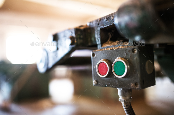 Machine control panel in carpentry workshop. - Stock Photo - Images