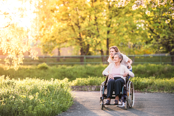 Elderly grandmother in wheelchair with granddaughter in spring nature. - Stock Photo - Images