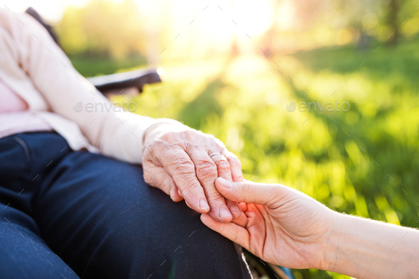 Granddaughter holding hand of grandmother in wheelchair in spring nature. - Stock Photo - Images