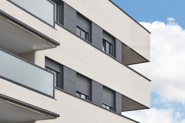 New building exterior facade with terrace. Construction. Buy, rent - Stock Photo - Images
