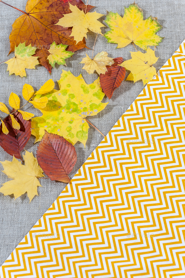 Fabric background with autumn leaves and various textures. - Stock Photo - Images